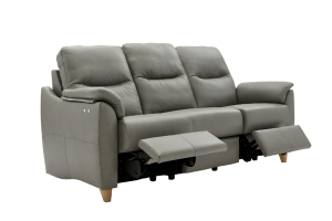 g plan spencer leather 3 seater double power recliner sofa