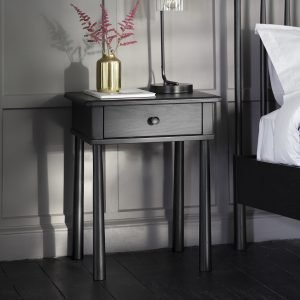 Wycombe Black 1 Drawer Bedside