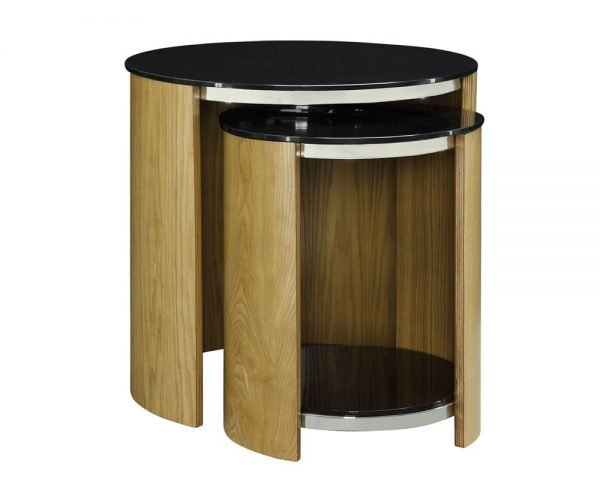 San Marino Round Nest of Tables – Oak – JF305