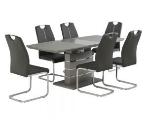 Argenta Grey Matt Glass Extending Table & Argenta Grey Chairs