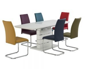 Argenta-White-Matt-Glass-Extending Table & Monaco Mixed Chairs