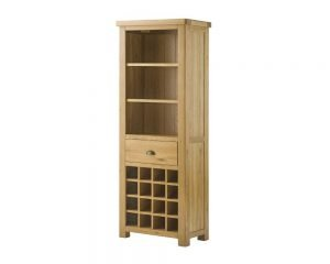 Portland Grand Bookcase with Wine Holders - oak