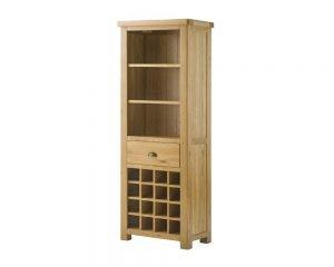Portland Grand Bookcase with Wine Holders - oak