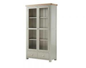 Portland Grand Glazed Display Cabinet - Stone