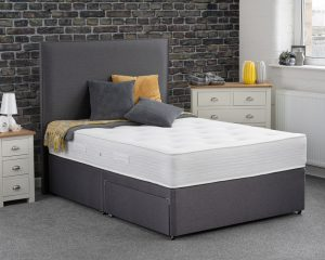Sweet Dreams Cosmos Comfort Divan Bed - Gunmetal Fabric